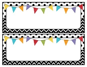 Editable Chevron and Polkadot Headers - Back to School