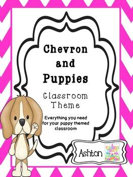 Chevron and Puppies Classroom Theme Bundle