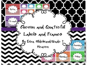 Chevron and Quatrefoil Frame and Labels FREEBIE