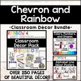 Chevron and Rainbow Classroom Decor Bundle *Editable*
