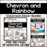 Chevron and Rainbow Classroom Decor Bundle *Editable*