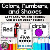Chevron and Rainbow Color, Number, and Shape Posters