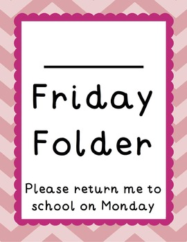 Chevron and Scallops Friday Folders {Editable}