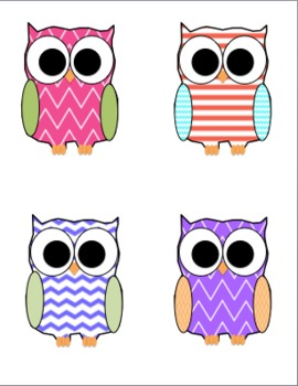 Chevron and Striped Owl Clip Art