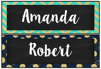 Chevron and polka dot desk and tote tray labels