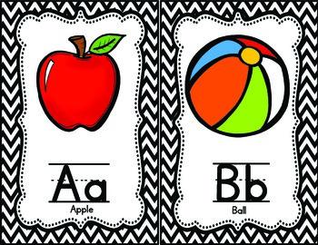 Chevron {black and white} Alphabet Posters