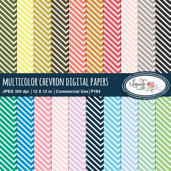 Chevron digital paper rainbow colors