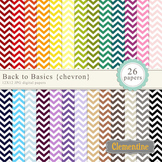 Chevron digital papers - rainbow chevron papers, white and color chevrons