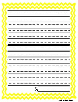 Chevron framed lined writing paper in portrait