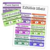 Chevron label set name tags, desk labels, round tags, edit