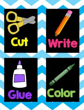 Chevron multicolored picture directions pack