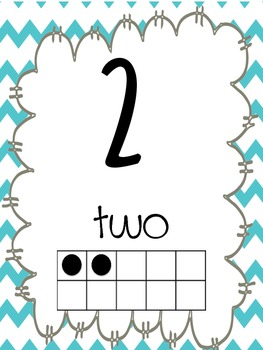 Chevron numbers number line 0-120 with tens frame