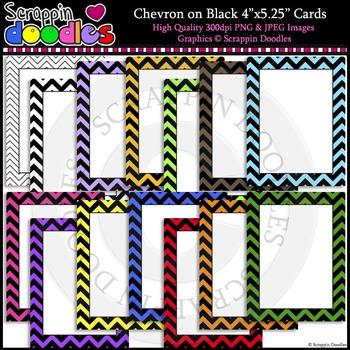 "Chevron on Black 4"" x 5-1/4"" Cards"