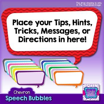 Chevron Pattern Rectangle Speech Bubbles Clipart
