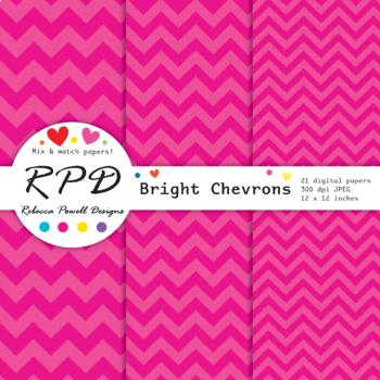 Chevron stripes bright rainbow colours digital paper set/ backgrounds