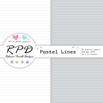 Chevron stripes pastel colours & white digital paper set/ backgrounds