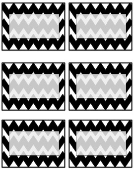 EDITABLE black chevron name tags or labels