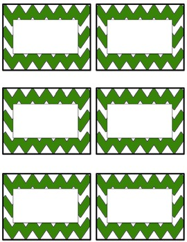 Chevron student name tags or labels- dark green and light green