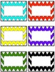 Chevron student name tags or labels- multi colored- EDITABLE