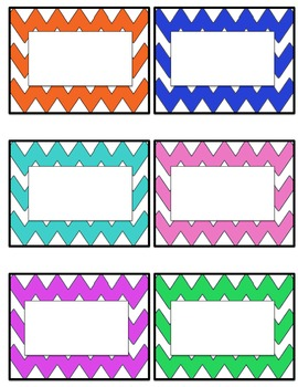 Chevron student name tags or labels- multi colored ...