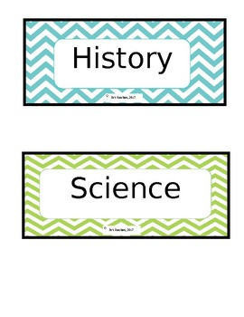 Chevron subject cards