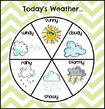 Chevron weather words and weather wheel