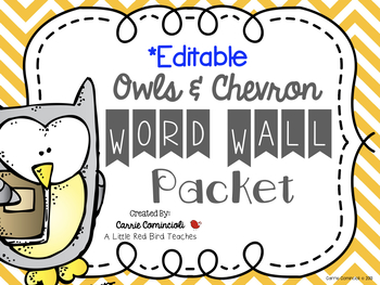 Chevron with Owls Word Wall Packet