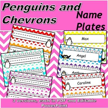 Chevron with Penguins Name Plates