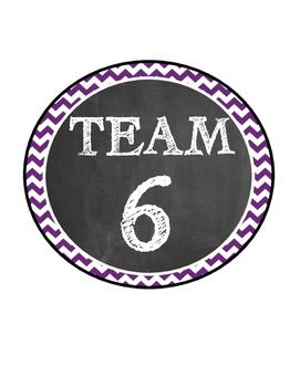 Chevron/Chalkboard Style Team Signs