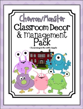 Chevron/Monster Classroom Decorations and Management Pack