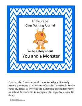 Chevron/Monster Theme Class Writing Journal Covers gr. 5