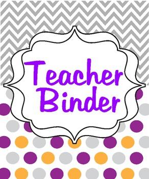 Chevron/Polka Dot Teacher Binder