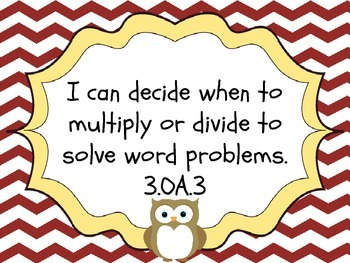 """Chevrons and Owls - 3rd Gr. CCSS Math """"I Can"""" Statements"""