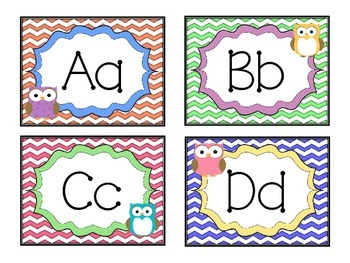 Chevrons and Owls - Alphabet Labels