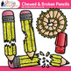 Chewed & Broken Pencil Clip Art {Back to School Supply Graphics for Resources}