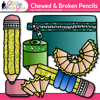 Chewed & Broken Pencil Clip Art | Back to School Supply Graphics for Resources