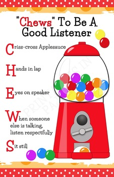 """""""Chews"""" To Be A Good Listener Poster (Bubblegum Themed)"""