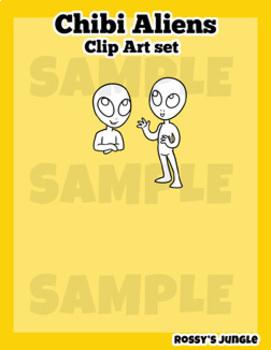 Chibi Aliens Mini Clip Art set