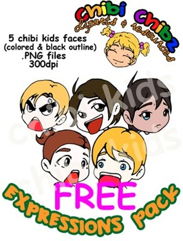 FACIAL EXPRESSIONS CLIPART PACK FOR FREE {CHibi Chibz Cliparts}