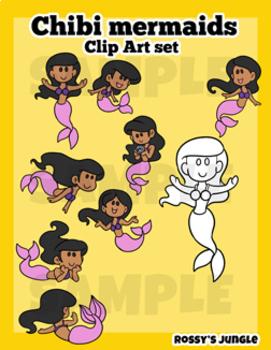 Chibi Mermaids Clip Art Set
