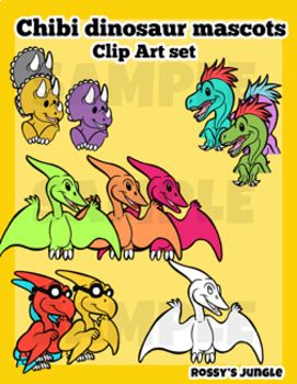 Chibi dinosaur mascots Clip Art set