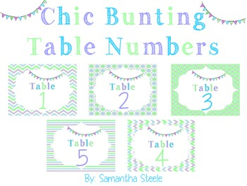 Chic Bunting Table Numbers