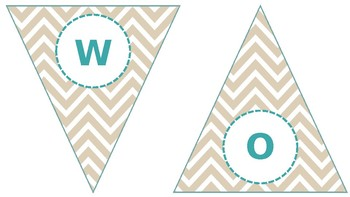 Chic Burlap Chevron and Teal Word Wall