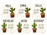 Chic Cactus Name Tags Editable