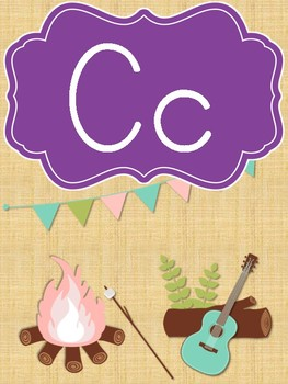 Chic Camping (Glamping) Theme Classroom Alphabet Posters - Print Clearly