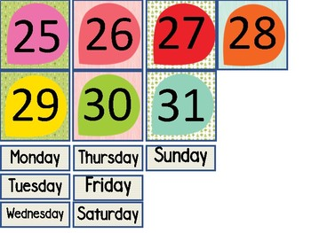 Chic Camping (Glamping) Theme Classroom Calendar Headers and Numbers