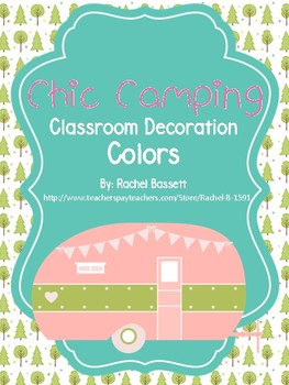 Chic Camping (Glamping) Theme Classroom Color Name Posters