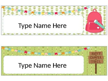 Chic Camping (Glamping) Theme Classroom Desk Name Plates Blank EDITABLE