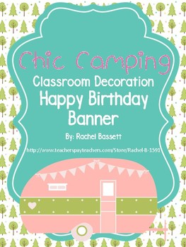 Chic Camping (Glamping) Theme Happy Birthday Banner