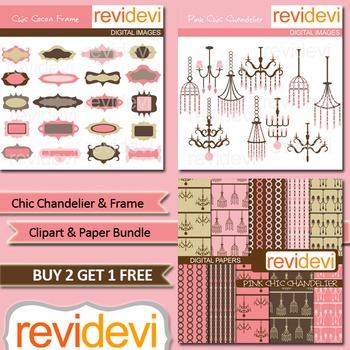 Chic Chandelier and Frame Clip art Bundle (3 packs)